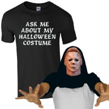 Ask Me About My Halloween Costume Mike Myers T-Shirt Funny Zombie Mens Flip Top
